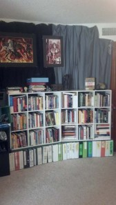 Writing bookshelves and wall