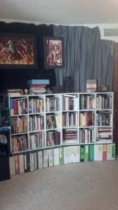Writing bookshelves and wall